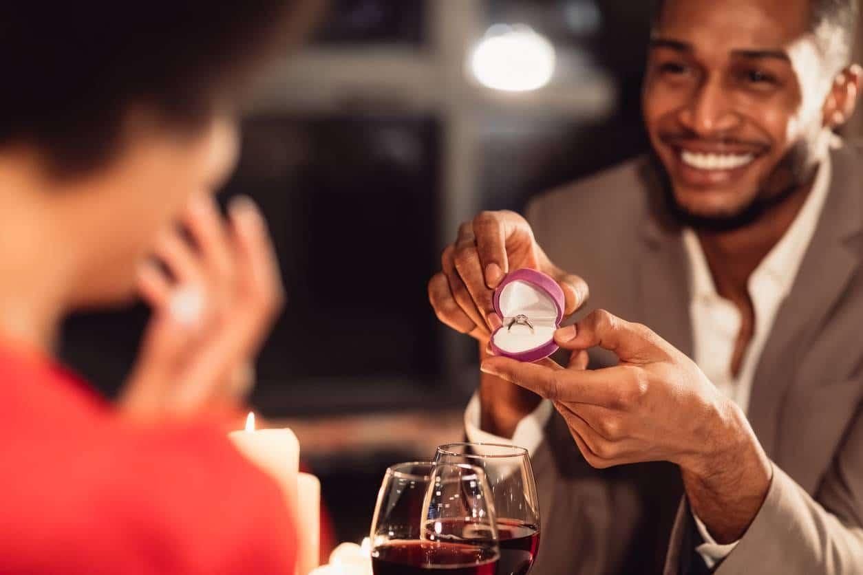 demande en mariage bague diamant